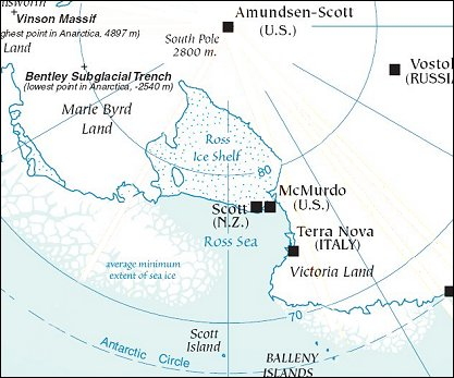 Map: South Pole and the Ross Sea