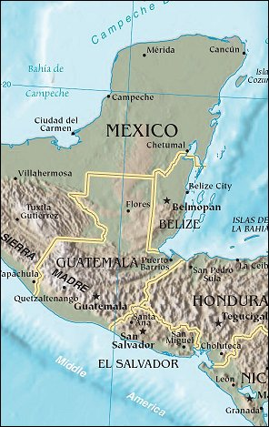 Map: Yucatan, Guatemala and El Salvador