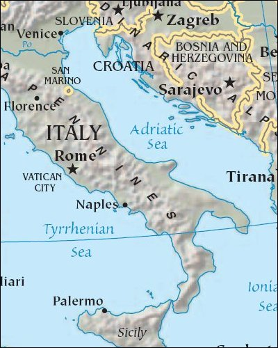 Map: Italy and Adriatic Sea