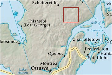 Map: Lake Manicouagan