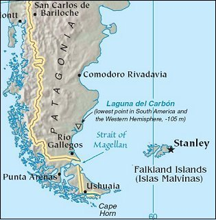 Map: Patagonia and Falkland Islands