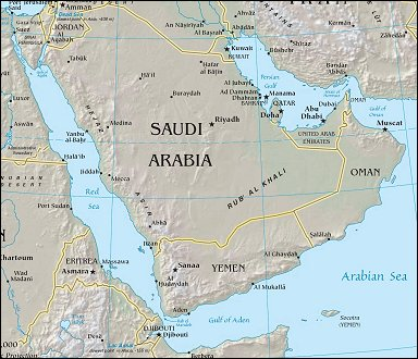 Map: Saudi Arabia from Space